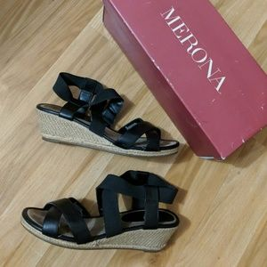 Merona Earla Black Wedge Sandals